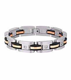 Men's Stainless Steel Polished Bracelet Rose Ion Plated and Black Rubber Links with CZ