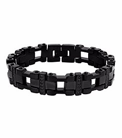 Men's Stainless Steel and Black Ion Plated Bracelet