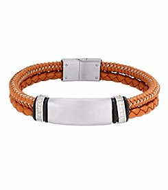 Men's Stainless Steel and Brown Leather Cord Bracelet