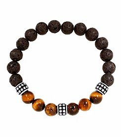 Men's Stainless Steel Polished Lava and Tiger Eye Bead Bracelet