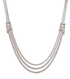 Balentino Gold on Silver Polished Tri Tone Tennis Strand Loop Necklace with Cubic Zirconia