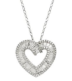 Sterling Silver Necklace with Open Heart Cubic Zirconia Pendant
