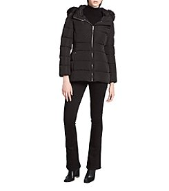 Calvin Klein Puffy Box Quilt Faux Fur Trim Hood Coat