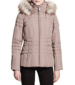 Calvin Klein Down Stand Collar Faux Fur Trim Coat