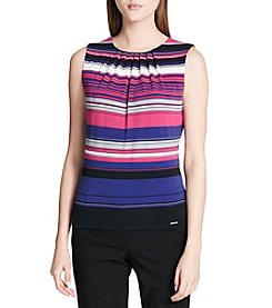 Calvin Klein Petites' Striped Pleatneck Tank Top