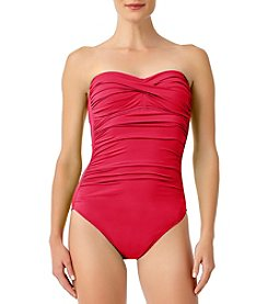 Anne Cole Bandeau Ruched Bodice Swimsuit