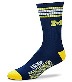 For Bare Feet NCAA® Michigan Wolverines Men's 4-Stripe Deuce Crew Socks