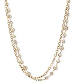 Anne Klein Goldtone Two Row Simulated Pearl Collar Necklace