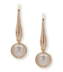 Anne Klein Goldtone Simulated Pearl Threader Earrings