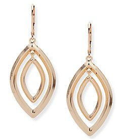 Anne Klein Goldtone Pierced Ear Orbital Leverback Drop Earrings