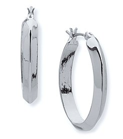 Anne Klein Silvertone Pierced Ear Medium Hoop Earrings