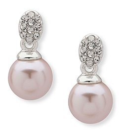 Anne Klein Silvertone Pavé Simulated Pearl Post Drop Earrings