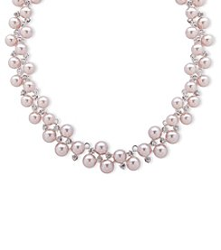 Anne Klein Silvertone Pink Simulated Pearl Bauble Collar Necklace