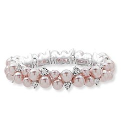 Anne Klein Silvertone Pink Simulated Pearl Cluster Stretch Bracelet