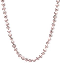 Anne Klein Silvertone Pink Simulated Pearl Collar Necklace