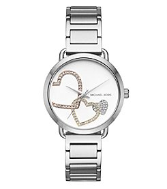 Michael Kors Women's Silvertone Heart Bracelet Watch