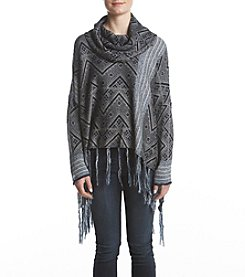 Fever Fringe Hem Cowl Neck Geometric Pattern Sweater