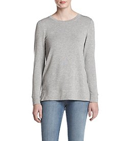 Kensie French Terry Slit Tie Back Sweatshirt
