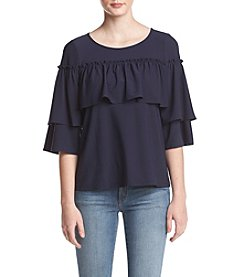 Kensie Tiered Sleeve Popover Top