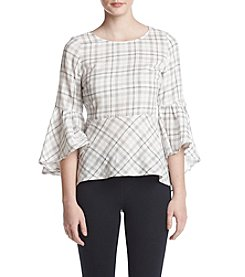 Kensie Plaid Popover Peplum Top