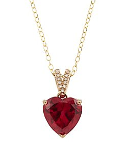 10K Yellow Gold Ruby Pendant Necklace