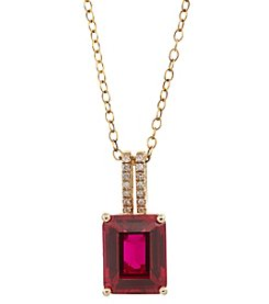 10K Yellow Gold With Lab Created Ruby Pendant Necklace