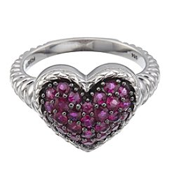 Effy Sterling Silver Ruby Heart Ring