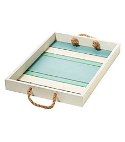 Living Quarters Striped Wood Tray