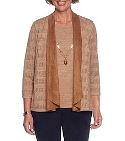 Alfred Dunner Petites' Suede Trim Cardigan