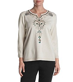 Alfred Dunner Petites' Sequin Bead Detail Neckline Sweater