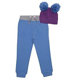 Lee Girls' 4-6X Jogger and Fur Pom Hat Set