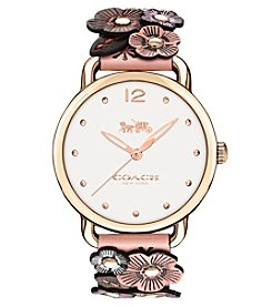 COACH WOMEN'S 36mm DELANCEY ROSE FLORAL LEATHER WATCH