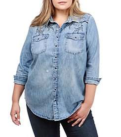 Lucky Brand Plus Size Embroidered Western Shirt