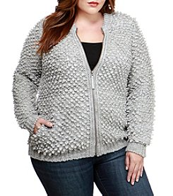 Lucky Brand Plus Size Sweater Bomber Jacket