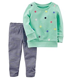 Carter's Girls' 2T-8 2-Piece French Terry Top And Striped Leggings Set