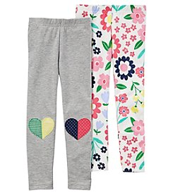 Carter's Girls' 2T-8 2 Pack Heart And Floral Leggings