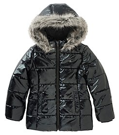 Calvin Klein Girls' 7-16 Metallic Bubble Puffer Jacket