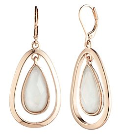 Anne Klein Rose Goldtone Faceted Stone Orbital Teardrop Earrings