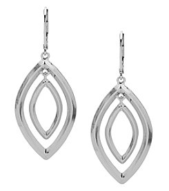 Anne Klein Silvertone Pierced Ear Orbital Leverback Drop Earrings