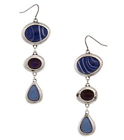 Erica Lyons Silvertone Three Oval Stone Drop Earrings