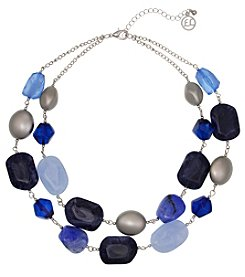 Erica Lyons Silvertone Short 2 Row Blue Stone Necklace