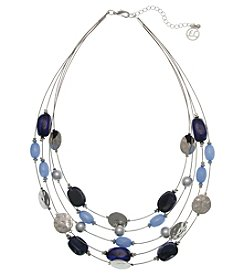 Erica Lyons Silvertone Short Illusion Necklace