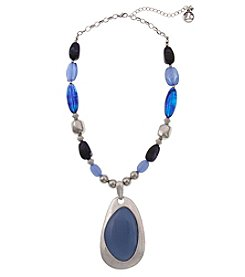 Erica Lyons Silvertone Short Blue Stone Pendant Necklace