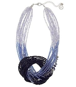 Erica Lyons Silvertone Short Knot Beaded Necklace