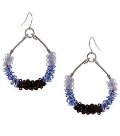 Erica Lyons Silvertone Stone Loop Earrings