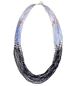 Erica Lyons Silvertone Long Multi Strand Beaded Necklace