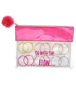 Erica Lyons Go With The Flow Pouch 6 Pack Hoop Earrings Set