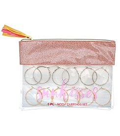 Erica Lyons Sunkisses Pouch 6 Pack Hoop Earrings Set