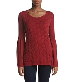 Fever Textured Bodice Bell Sleeve Sweater