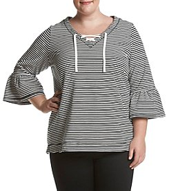 Fever Plus Size Horizontal Striped Bell Sleeve Lace Up Top